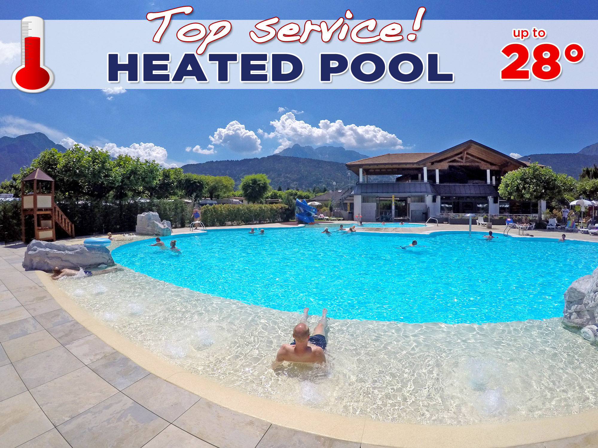 4 star camping site with heated pool on the caldonazzo lake in trentino for Camping sites with swimming pools